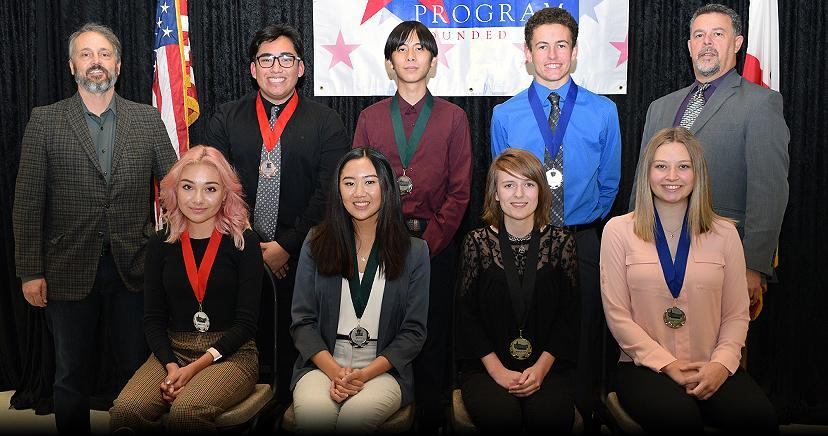 JANUARY STUDENT OF THE MONTH. Seated L-R: Yadira Morales, EHS; Maria Uytengsu, LHS; Kaitlyn Bahena, OHS; Ally Quinn, TCHS. BACK: Joseph Morabito, Councilman, City of Wildomar; Nathan Marin, EHS; 'Wilson' Wei Chen Chu, LHS; Peter Gibbs, TCHS; Kim Joseph Cousins, President/CEO LEVCC.