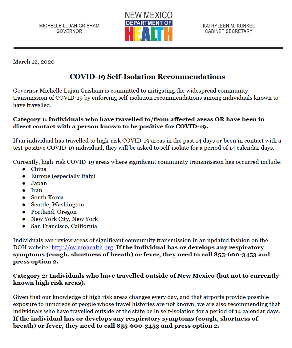 Governor's recommendations for self-isolation