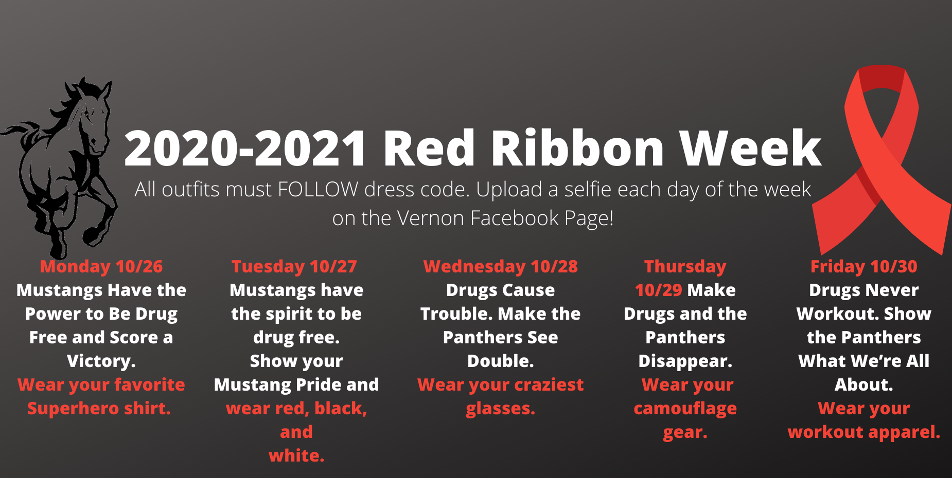 image shows running mustang and red ribbon week information