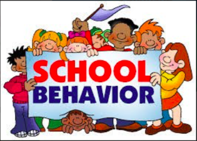 Children holding banner for school behavior.