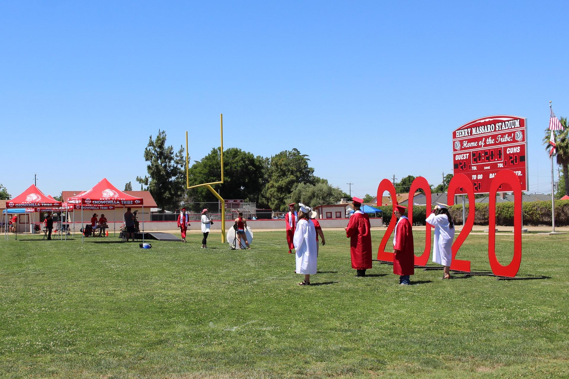 A panoramic field view of the graduation setup
