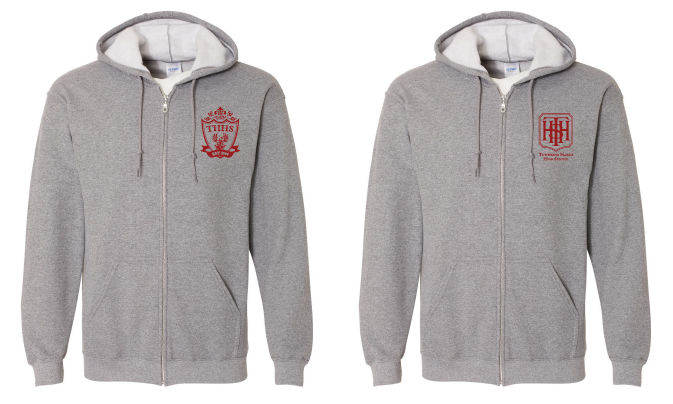 Gray zipper hoodies