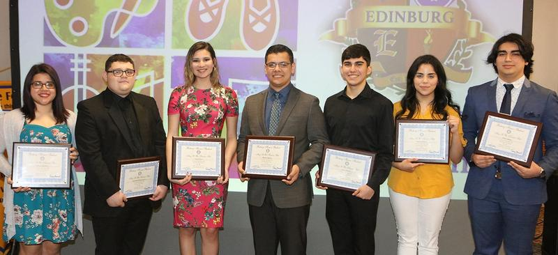 Edinburg CISD students pose for a photo during an Edinburg Rotary Club meeting at the Echo Hotel in Edinburg. Pictured L-R: Edinburg High School senior Athena Martinez, Edinburg High School senior Azdruball Montemayor, Edinburg North High School senior Ariza Cantu, Edinburg North High School senior Miguel Aguirre, Economedes High School senior Diego Garza, Vela High School senior Paulina Ramos and Vela High School senior Ethan Alaniz. Not pictured is Economedes High School senior Jennifer Vasquez.