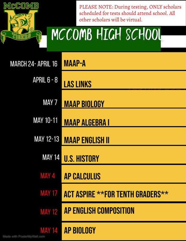 McComb High School REVISED Testing Schedule 2021