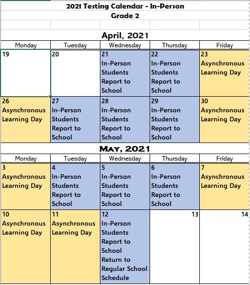 2nd Grade In-Person Testing Calendar