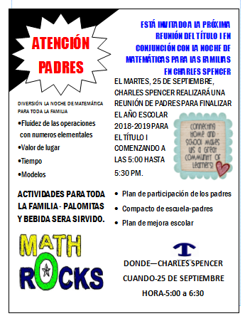 Math Night Flyer in Spanish September 25, 2018