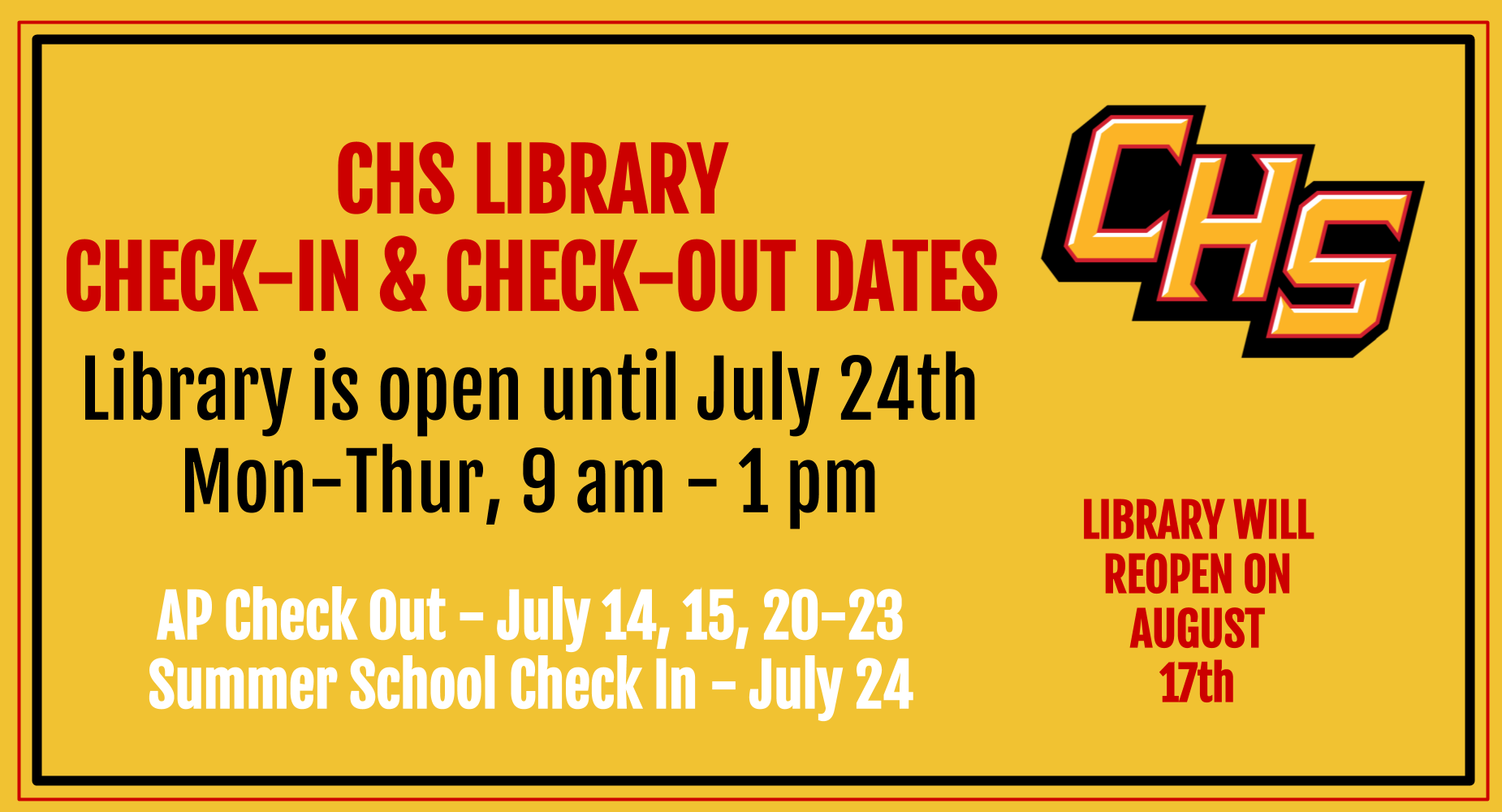Summer Library Hours and Check-ins