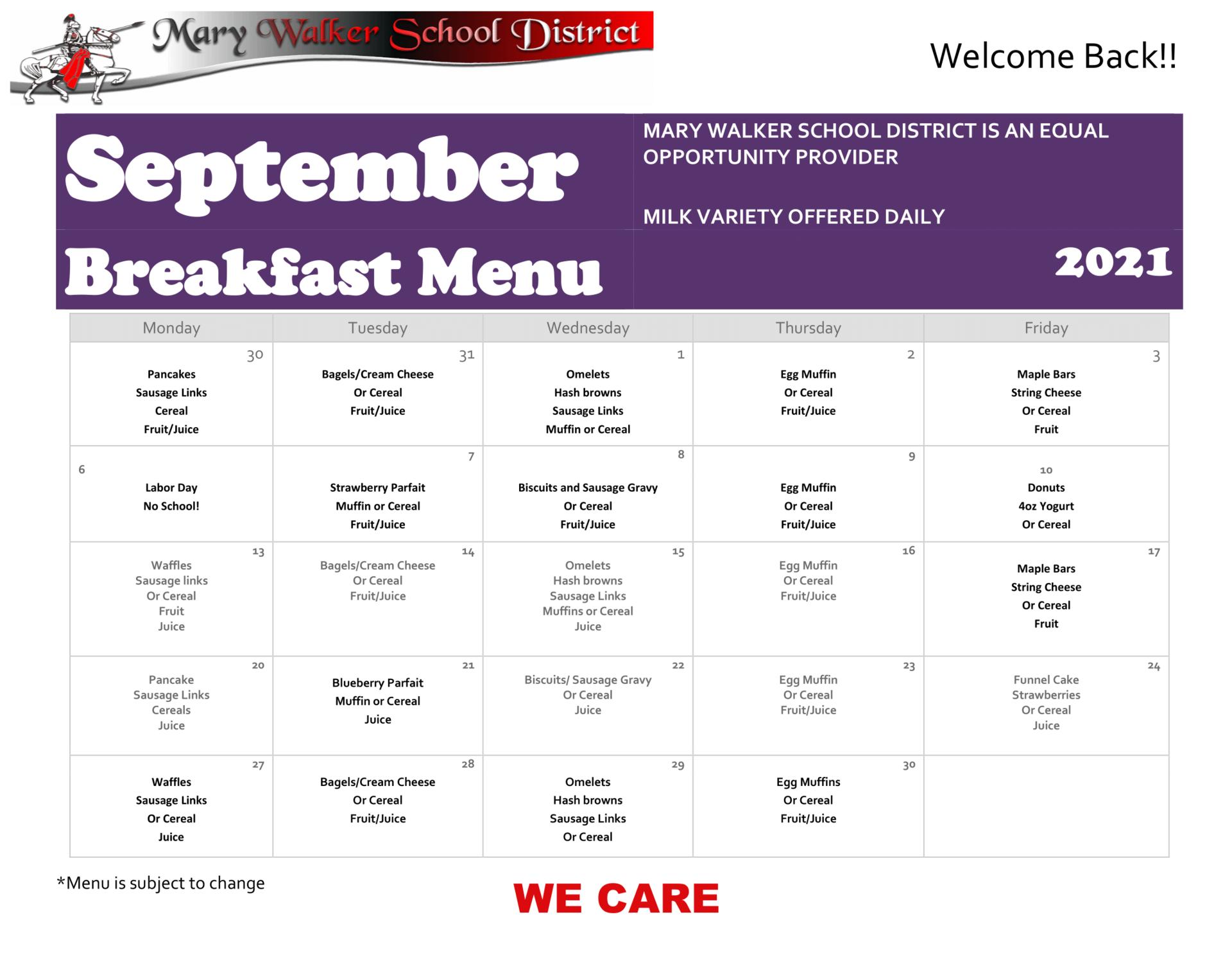 Image of September 2021 Breakfast Menu