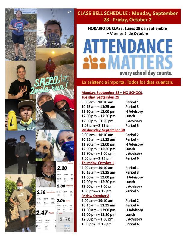 Class Bell Schedule : September 28 - October 2, 2020 Featured Photo