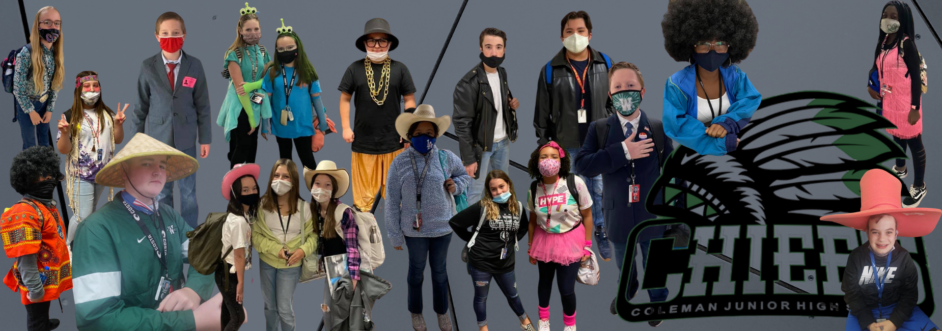 collage of students dressed up for spirit week