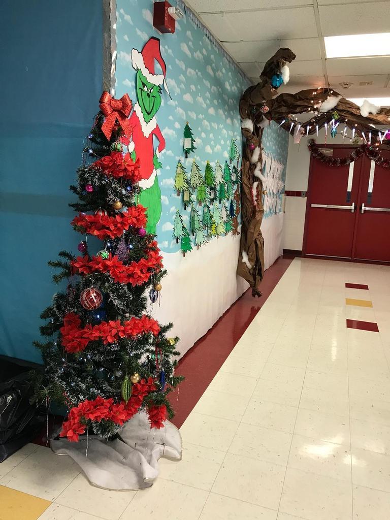 the grinch hallway display with christmas tree