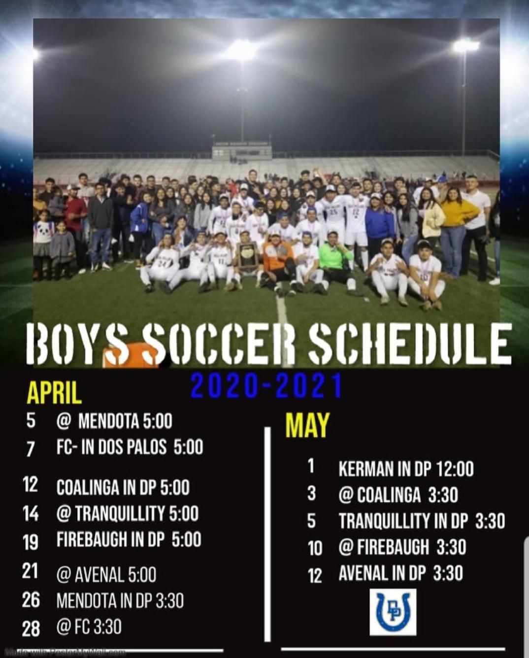 2021 Boys Soccer Schedule