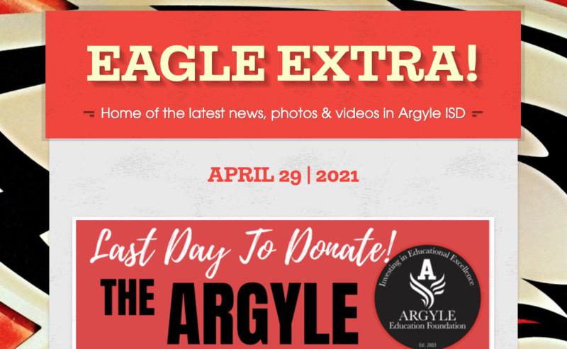 Argyle ISD Eagle Extra: Thursday, April 29, 2021 Thumbnail Image