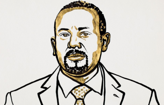 Cartoon drawing of Abiy Ahmed