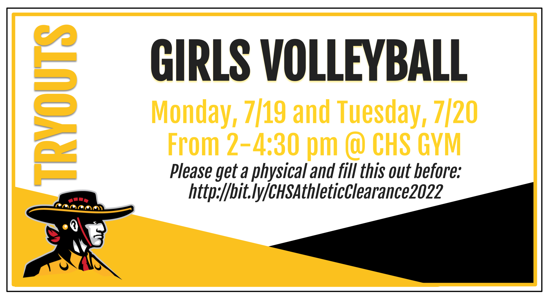 Girls VB tryouts today 2-4:30