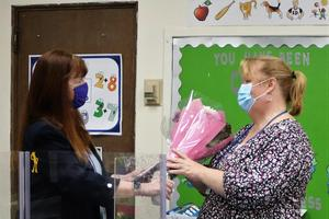 Superintendent Dr. Margaret Dolan pays a surprise visit on April 28 to Franklin Elementary School Achieve teacher Nancy Rygiel, recipient of the 2021 Rotary Club of Westfield's Philhower Fellowship Award.
