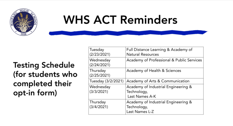 WHS ACT Reminder Testing Schedules Graphic
