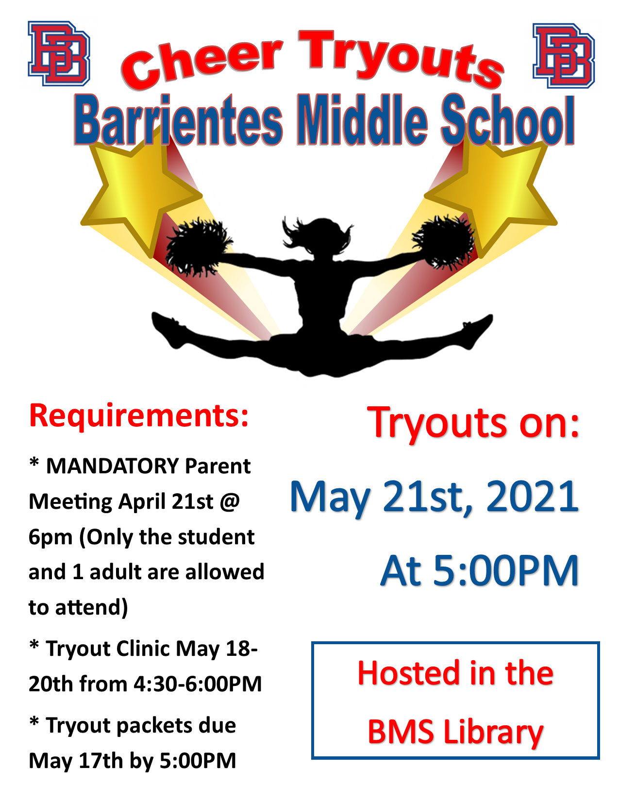CHEER TRYOUTS & PARENT MEETING