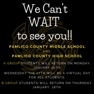 PCMS and PCHS Students will return to school September 25th. A group students will return on Monday and B group students will return on Thursday.
