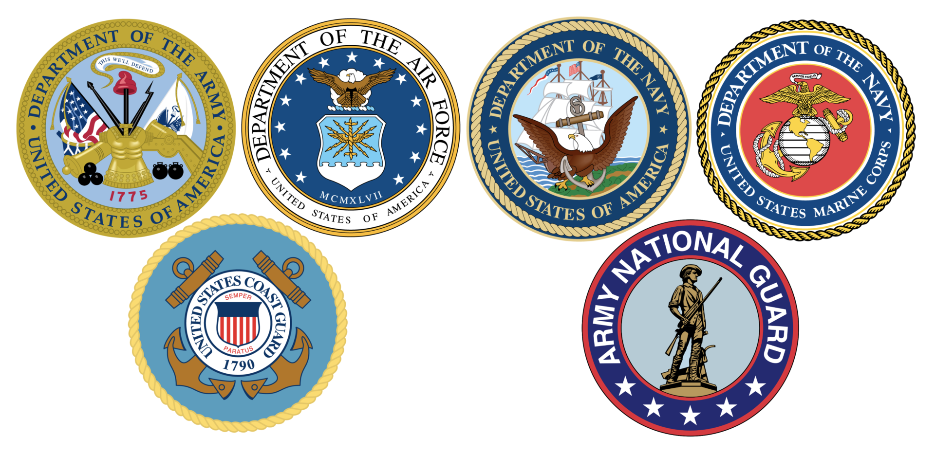 Image of the official seals of all branches of the U.S. Armed Forces and National Guard.