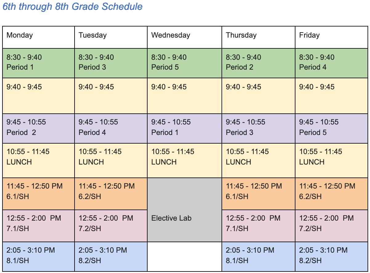 Bell Schedule Effective 2.1.2021