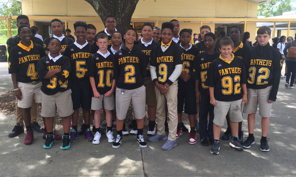 Sunset Middle School football players were allowed to wear their football jerseys to school in support of Beau Chene High School football program.  Students will be able to enter the BCHS football game free on Friday, August 31, 2018.  Good luck Gators!