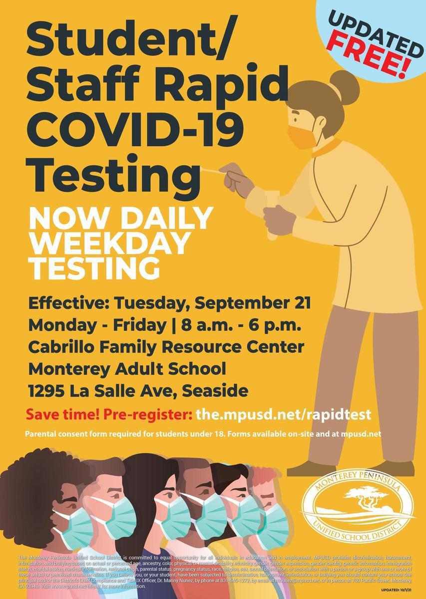 COVID Rapid Test Updated Times