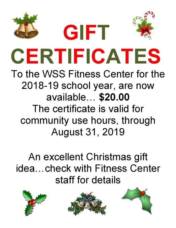 Buy a Gift Certificate for the WSS Fitness Center for Christmas