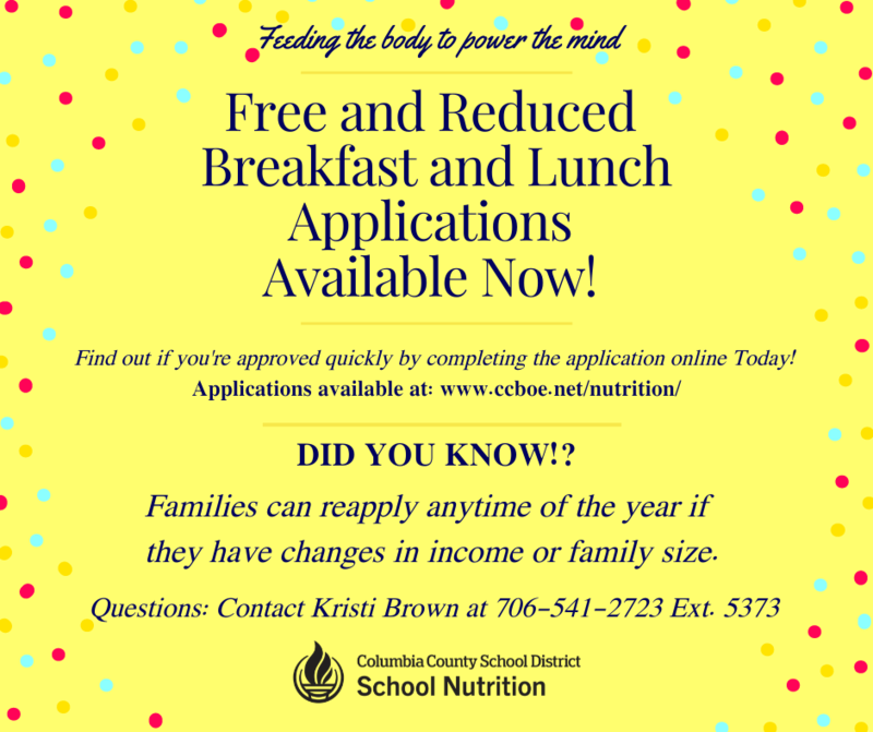 Free and reduced breakfast and lunch application infographic