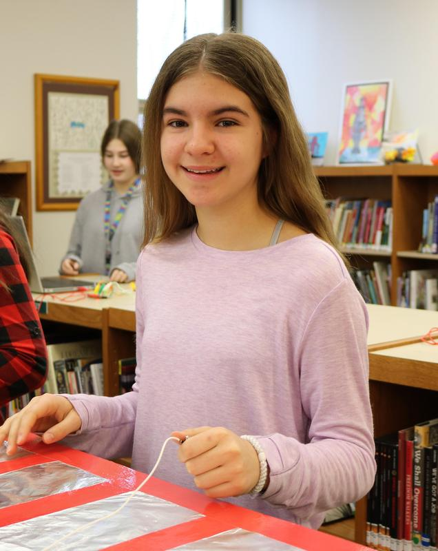 Roosevelt 7th grader enjoying Maker Day in the library makerspace in March.