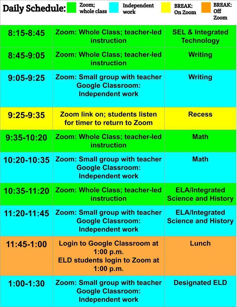 3rd grade daily schedule