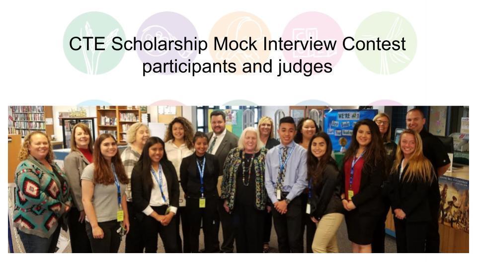 CTE Scholarship Mock Interview Contest participants and judges
