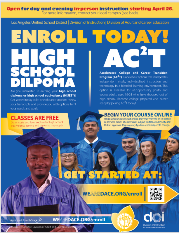 HS DIPLOMA and AC2T REOPENING FOR IN-PERSON LEARNING