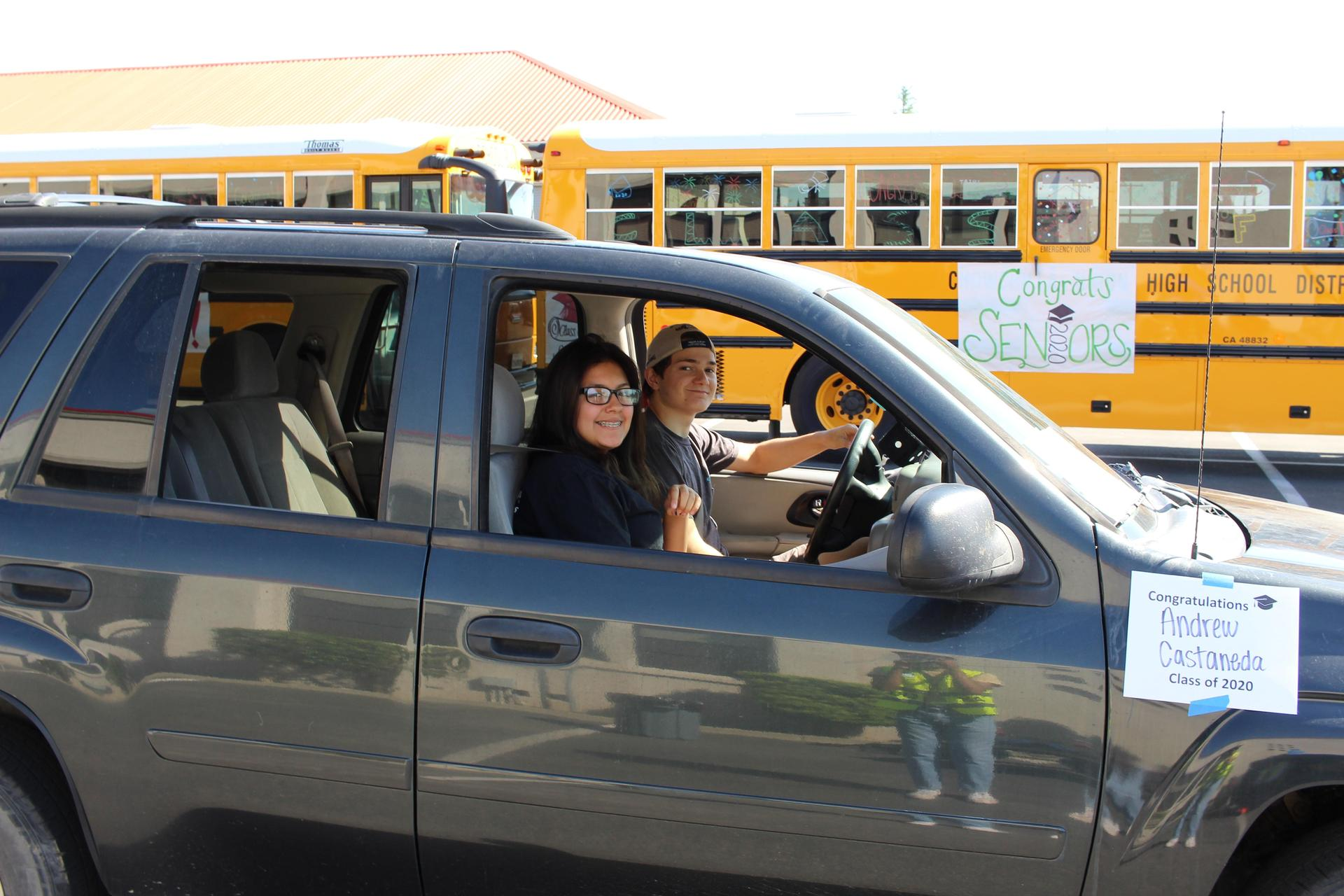 Frances Ceja riding with Andrew Castaneda driving