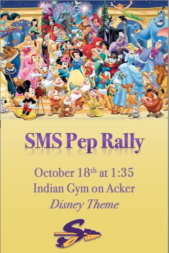 SMS Disney Pep Rally Oct 18 at 1:35