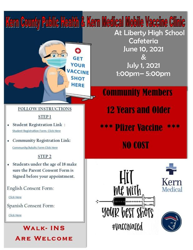 Get your Vaccine at Liberty High School Thumbnail Image