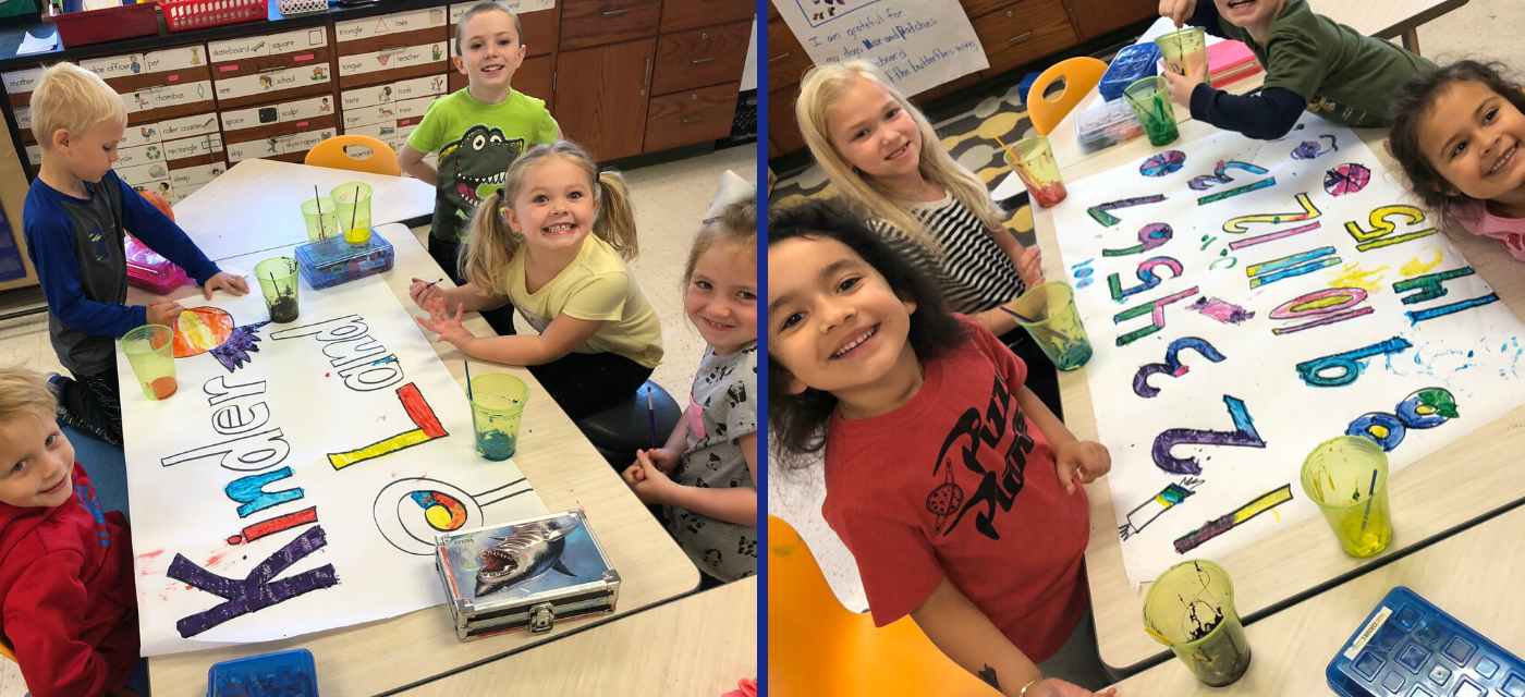 students painting in kinder land