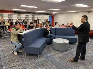 Superintendent Richard Martinez speaking to parents