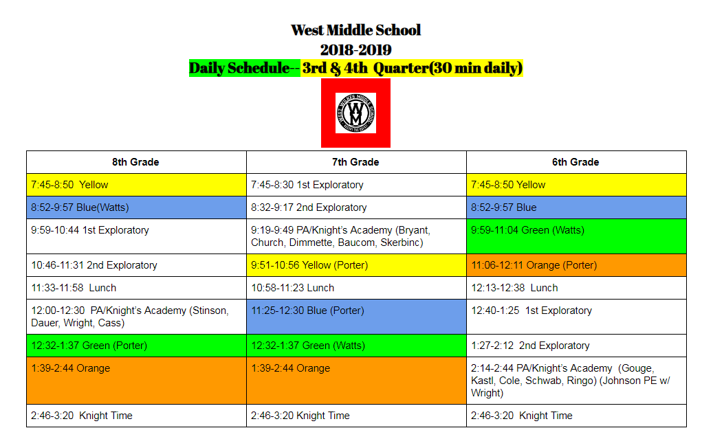 This image shows the daily schedule for WWMS.