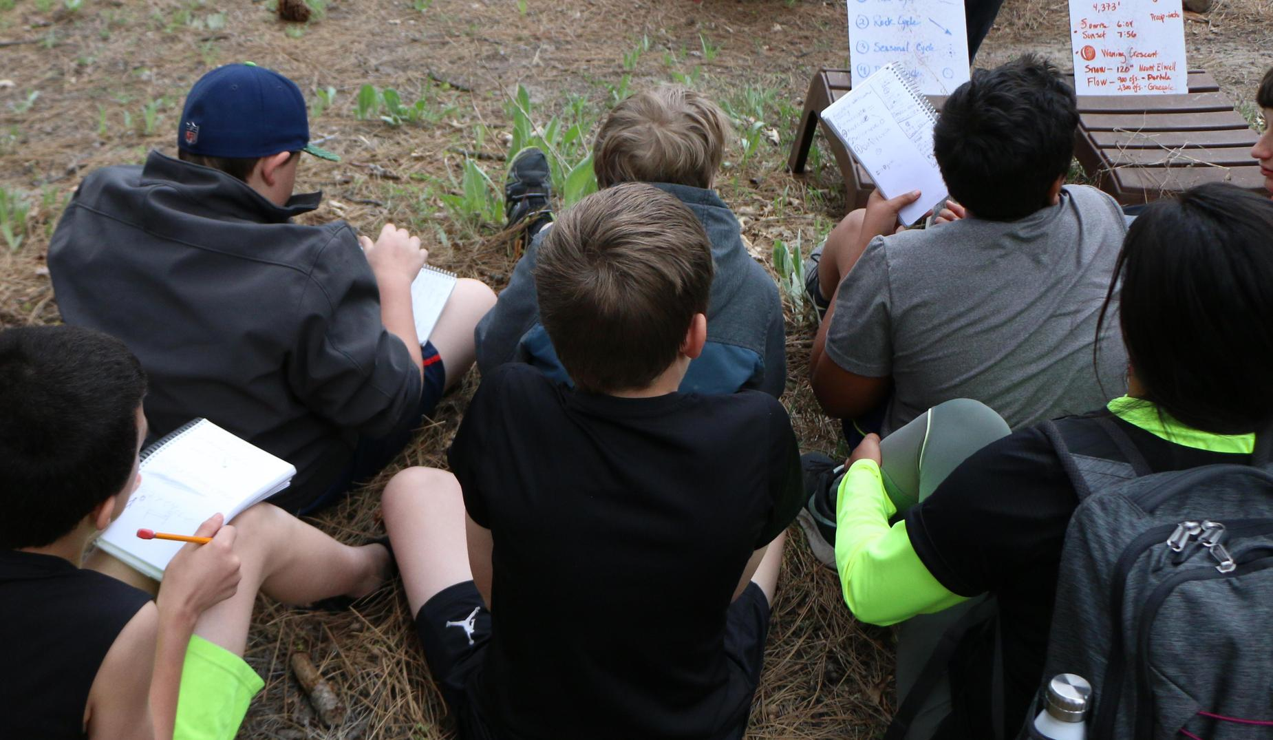 CRC students taking notes outside