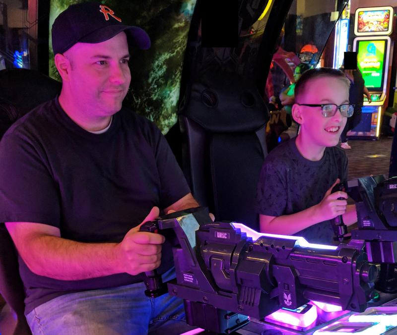 Jackson and Matt Moring playing a video game