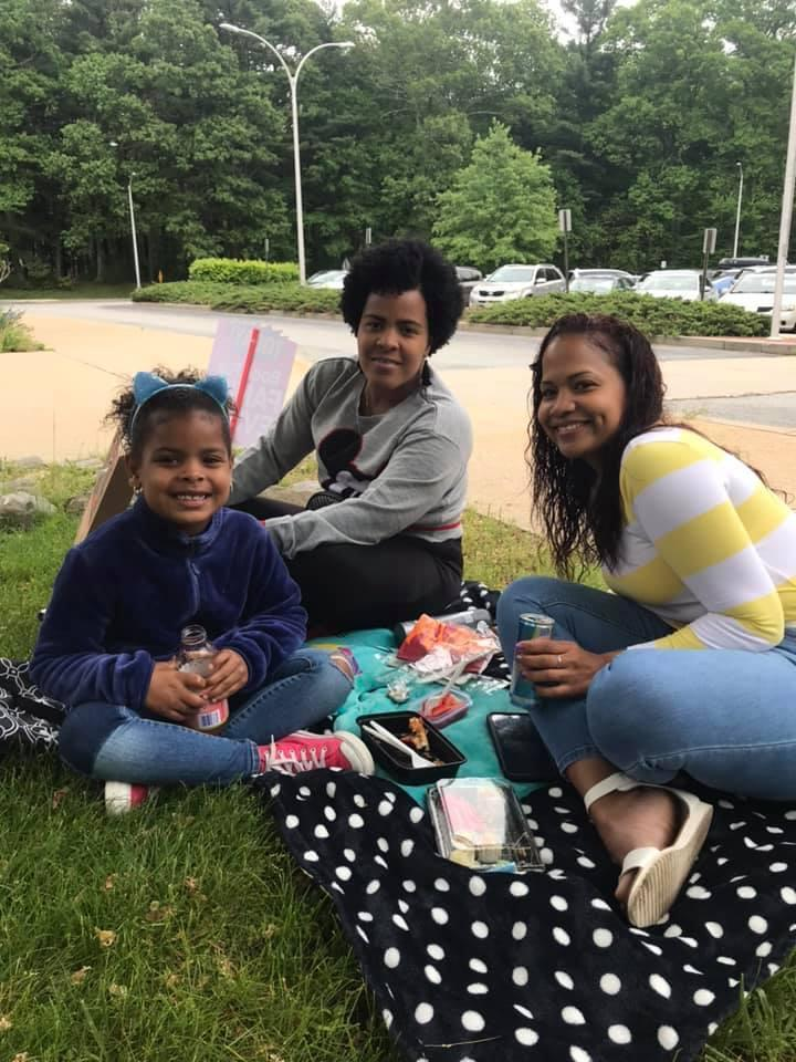 family eating a picnic