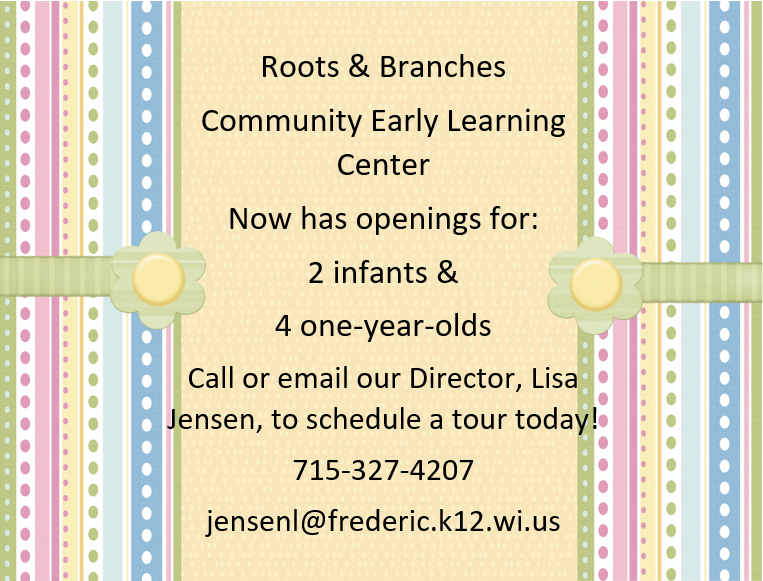 Openings for Infants and One Year Olds