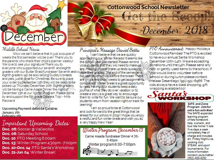 December Newsletter in English