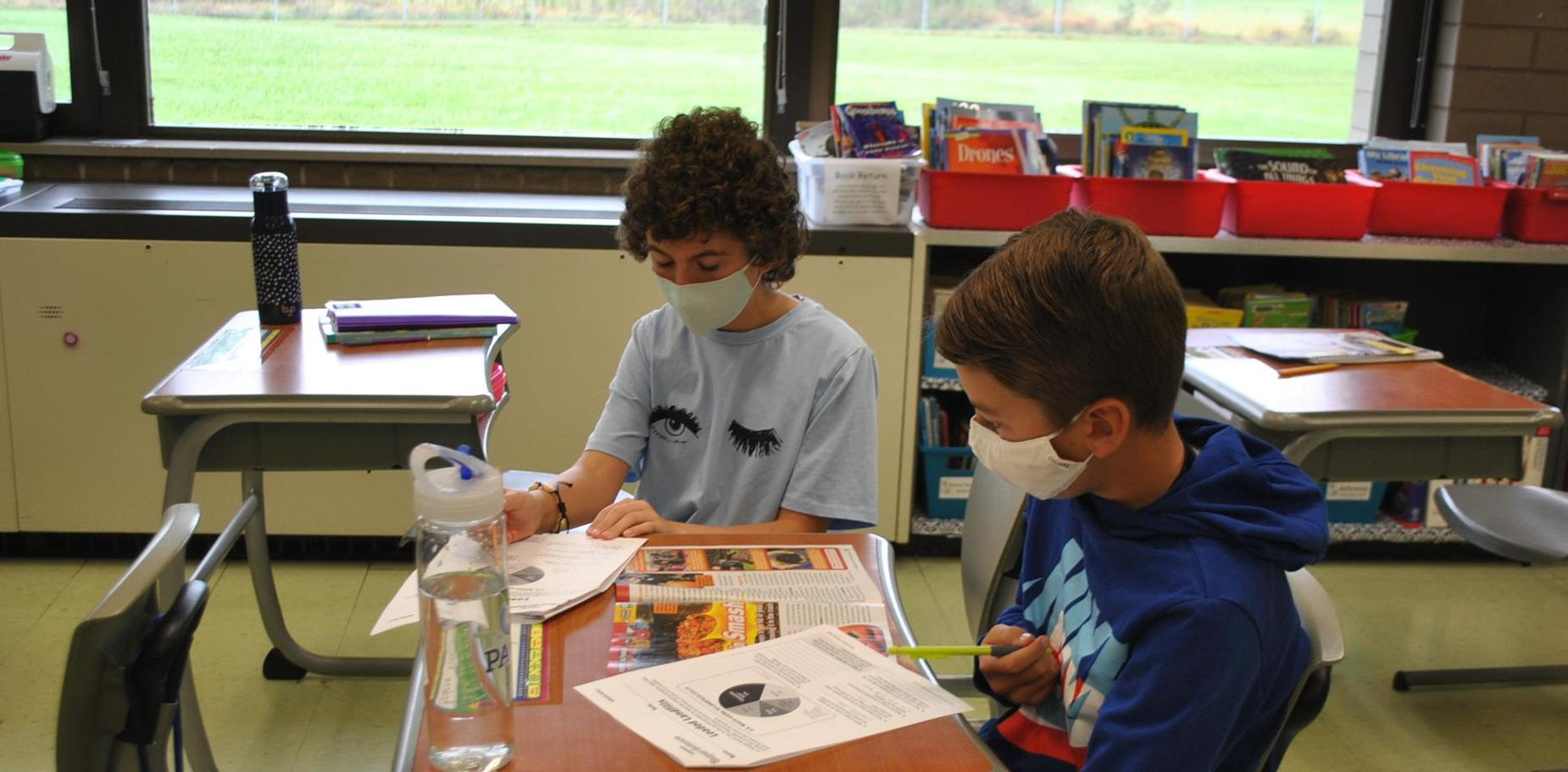 Students doing classwork