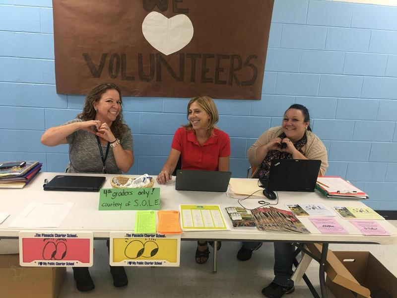 Volunteer table at conferences
