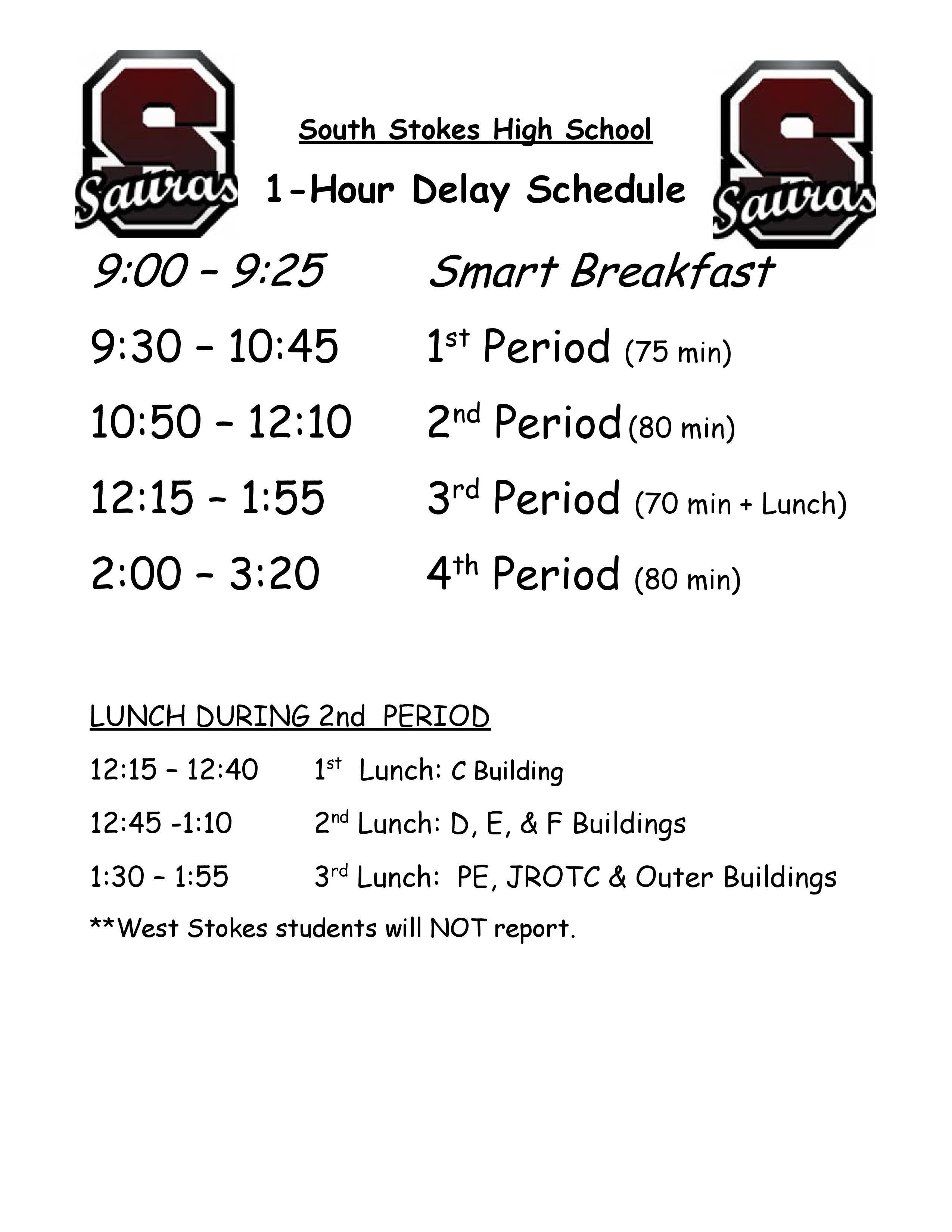1 Hour Delay Schedule