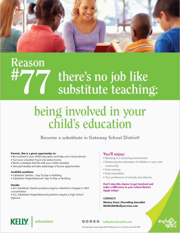 Become a substitute teacher with the Gateway School District Thumbnail Image
