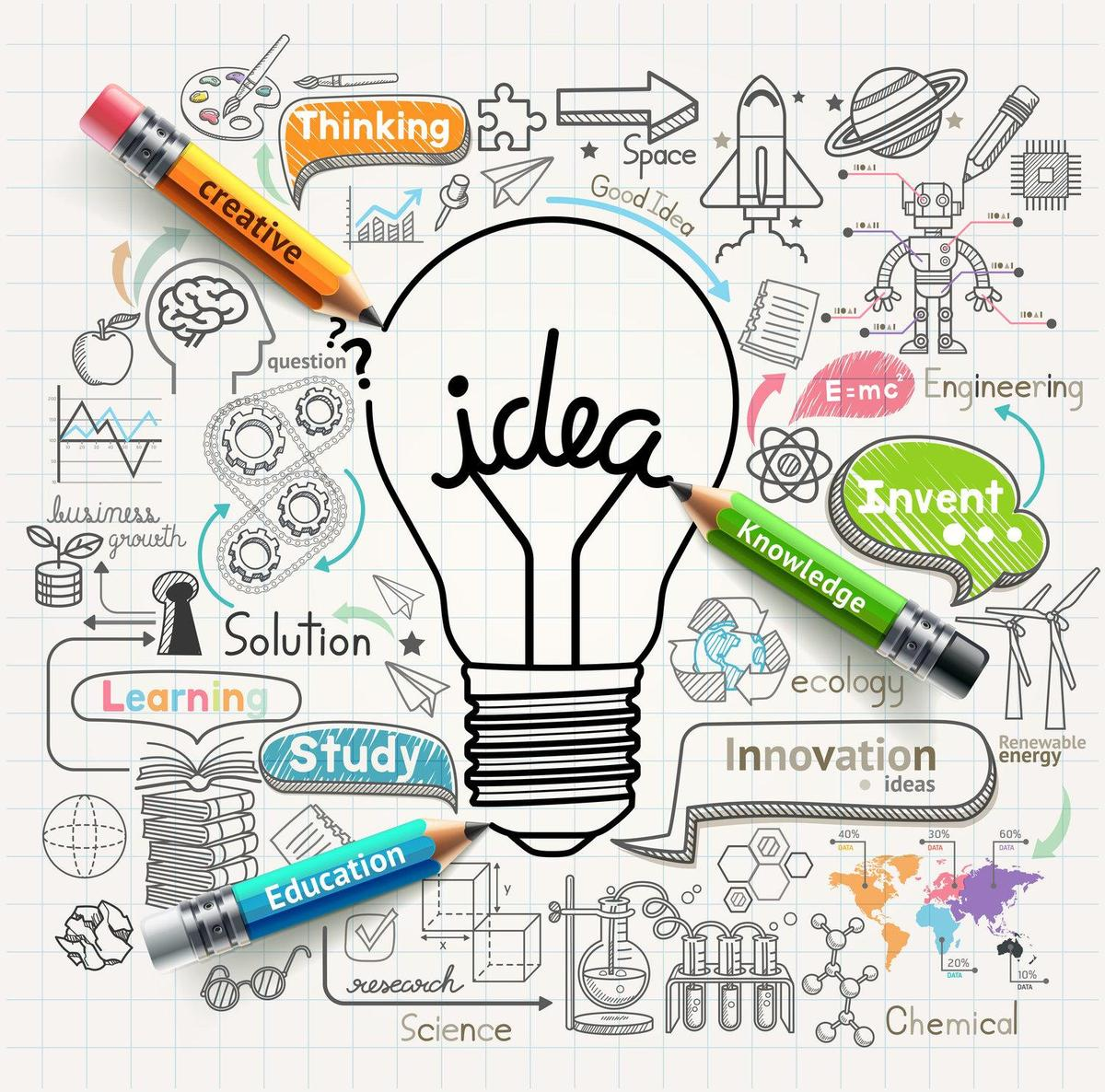 "Cartoon of light bulb with the word ""idea"" in it."