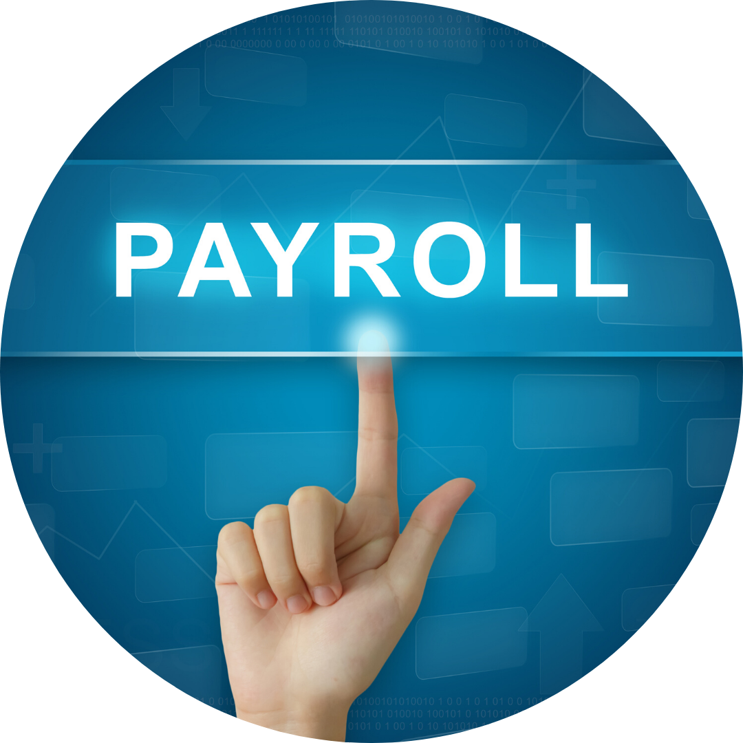 finger pushing transparent button that reads payroll